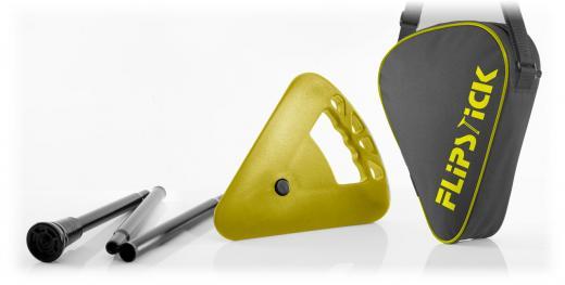 Sitzstock faltbar und höhenverstellbar gelb mit Tasche