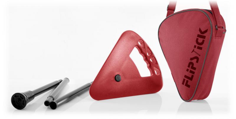Sitzstock faltbar und verstellbar schwarz-rot
