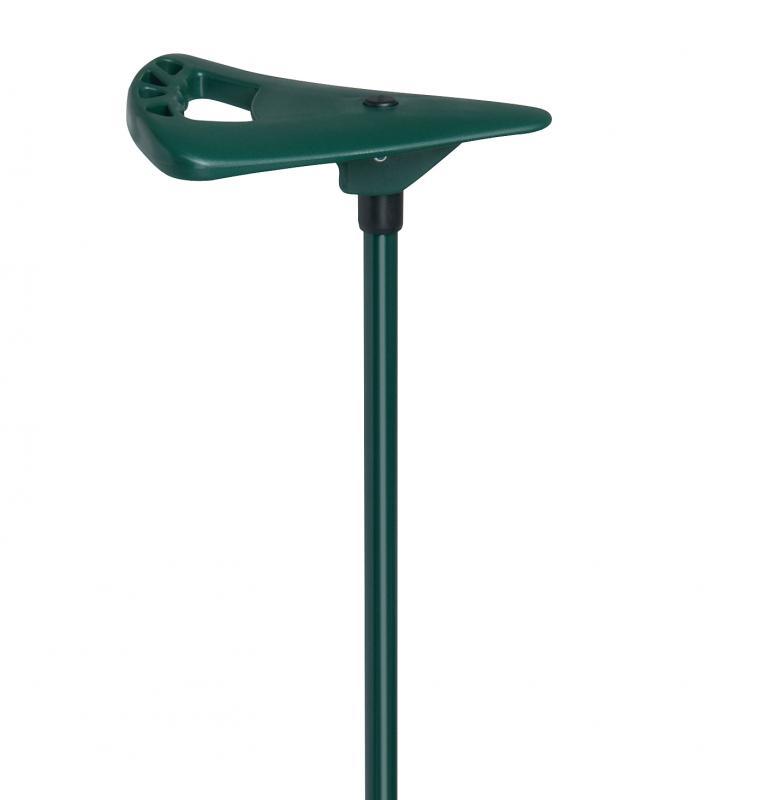 Gehstock mit Sitz grün mit extra breitem Fuß