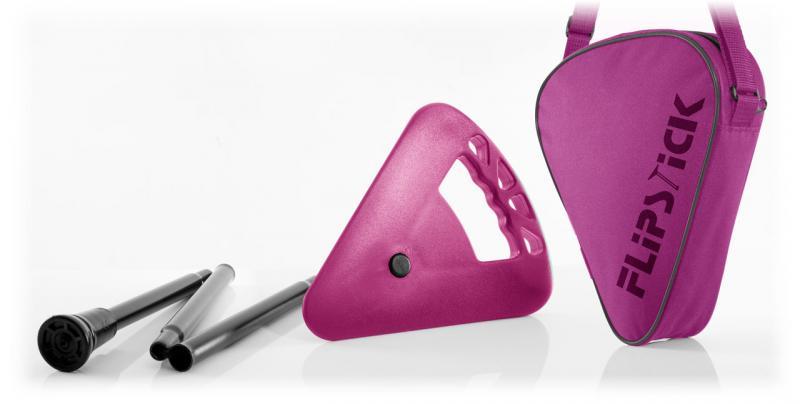 Sitzstock faltbar und verstellbar pink mit Tasche