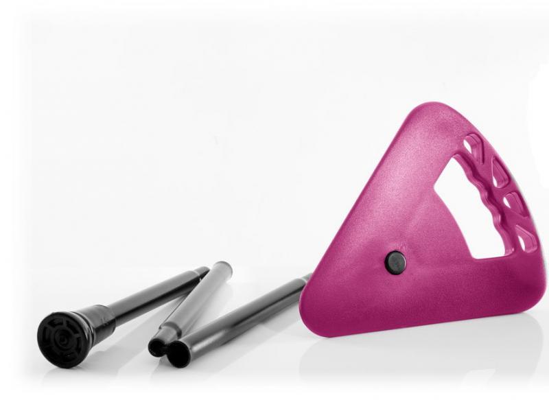 Bâton de siège extra court pliable avec sac rose